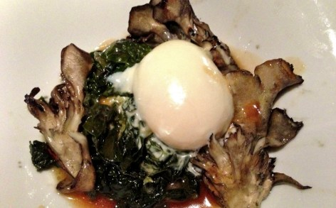 grilled hen o the woods, tuscan kale, and parmesan poached eggs