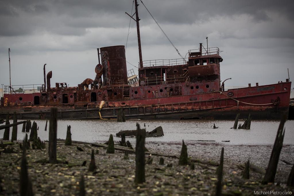 Abandoned shipwreck of Arthur Kill, New York City