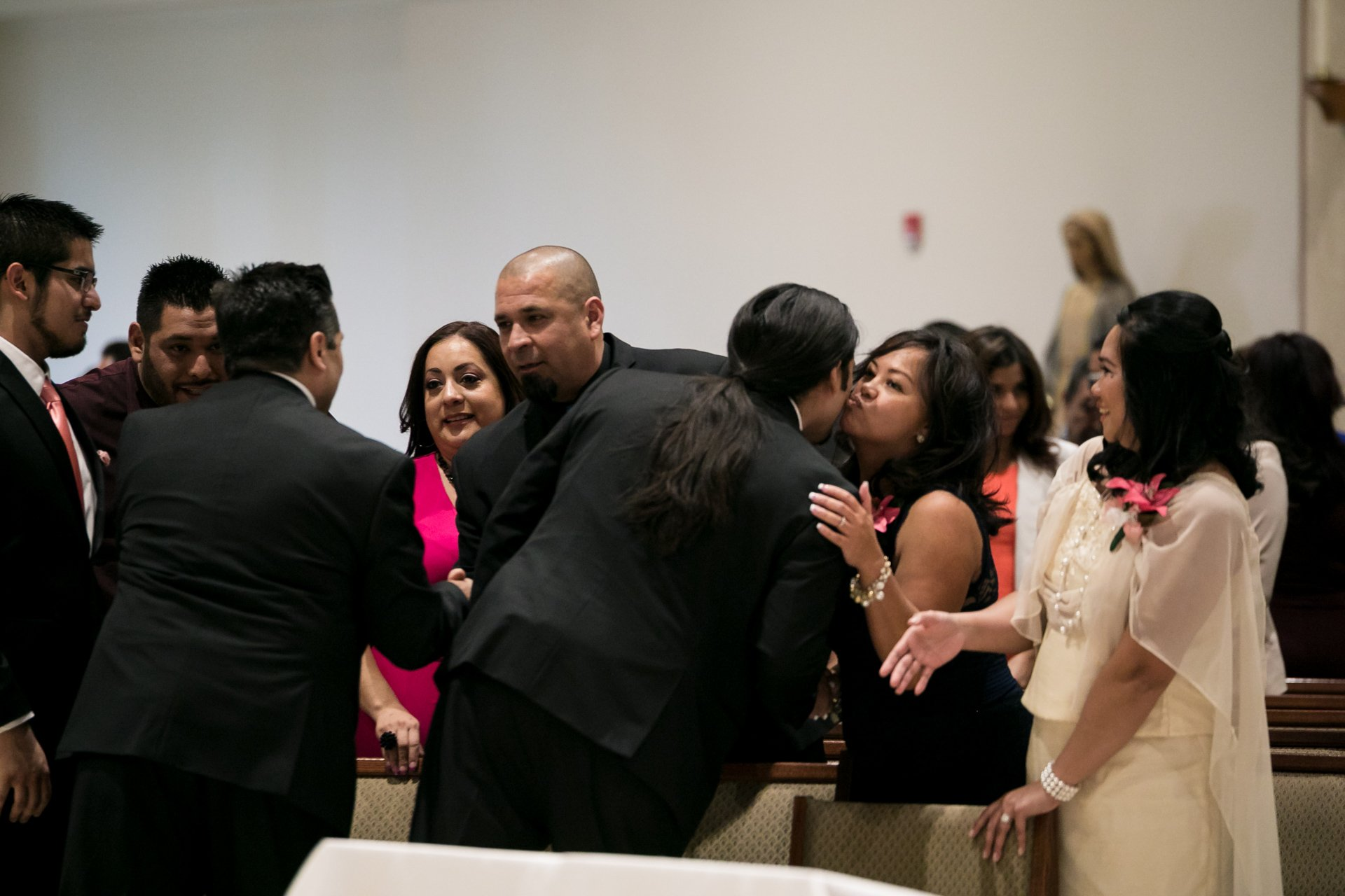 couple at receiving line during ceremony