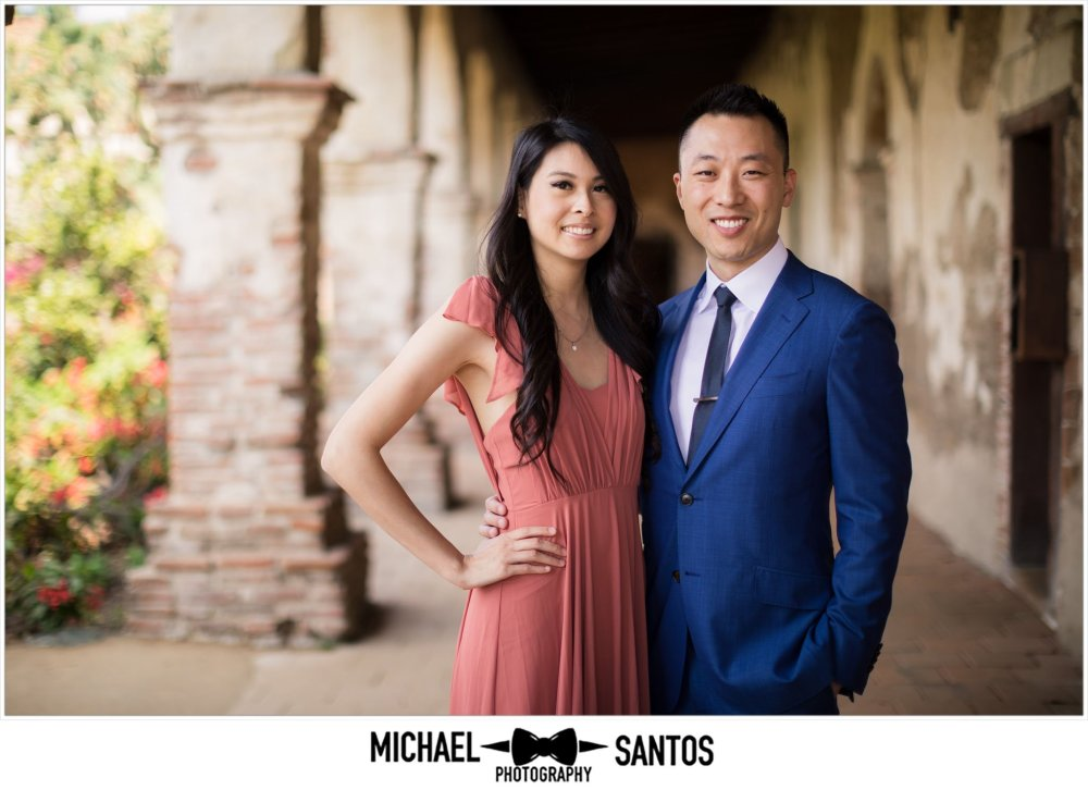 engaged couple posing during their mission san juan capistrano engagement session