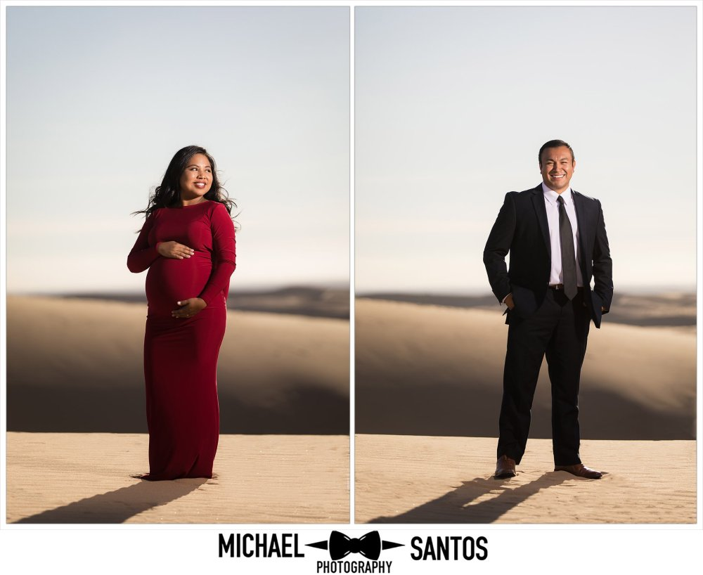 solo portraits of pregnant mother at the glamis sand dunes