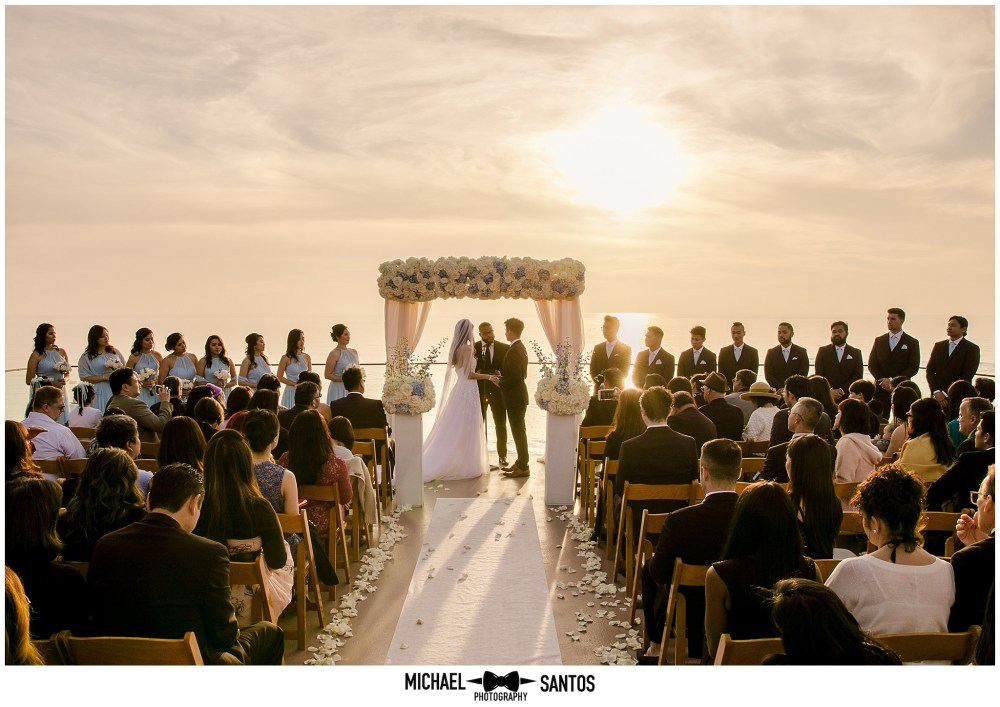 wedding ceremony at surf and sand resort in laguna