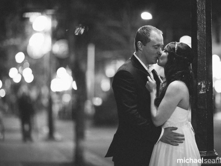 night time wedding portrait in gastown