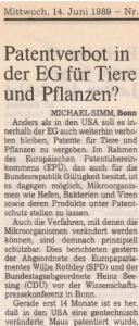A1989-002 Patentverbot in der EG für Tiere und Pflanzen -Titel