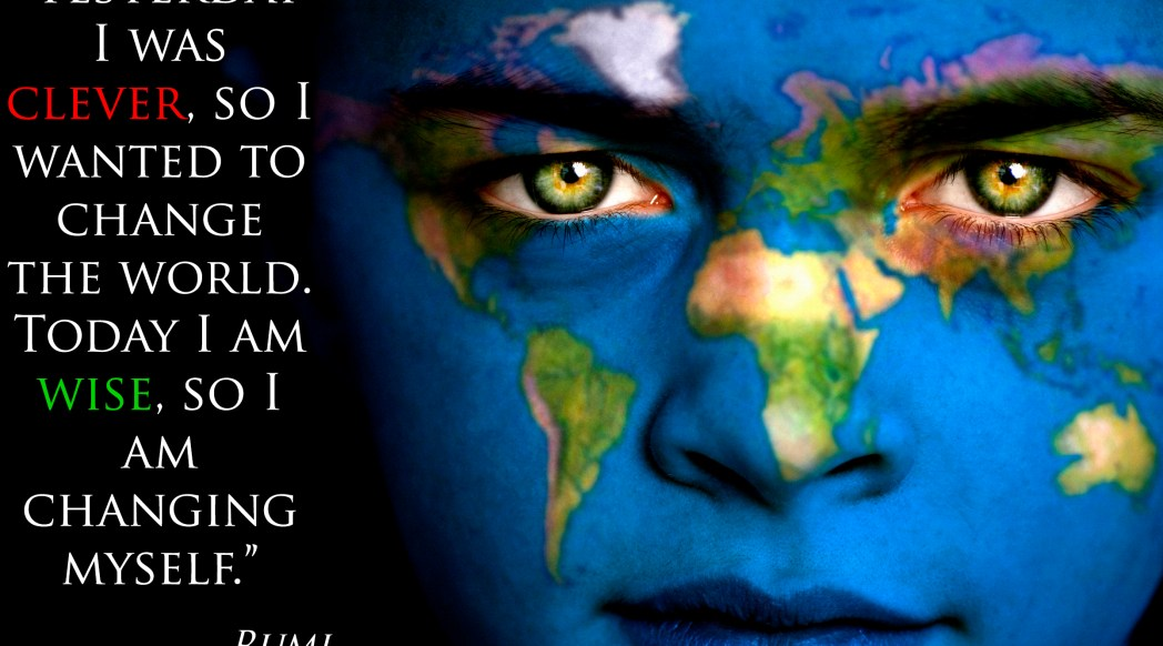 Providence Life Coaching and Reiki Counseling - Rumi - Change - Portrait of a boy with the map of the world painted on his face.