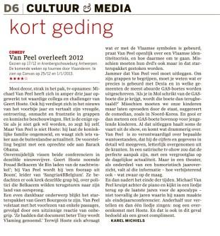 Recensie VPO12 - de Standaard 20 december 2012