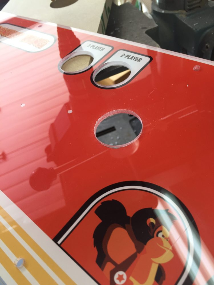 Donkey Kong Arcade Machine: First Auxiliary Hole Drilled