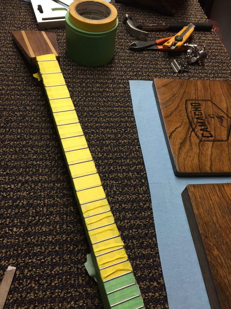 CLE Cigar Box Guitar Build - Fret bevelling