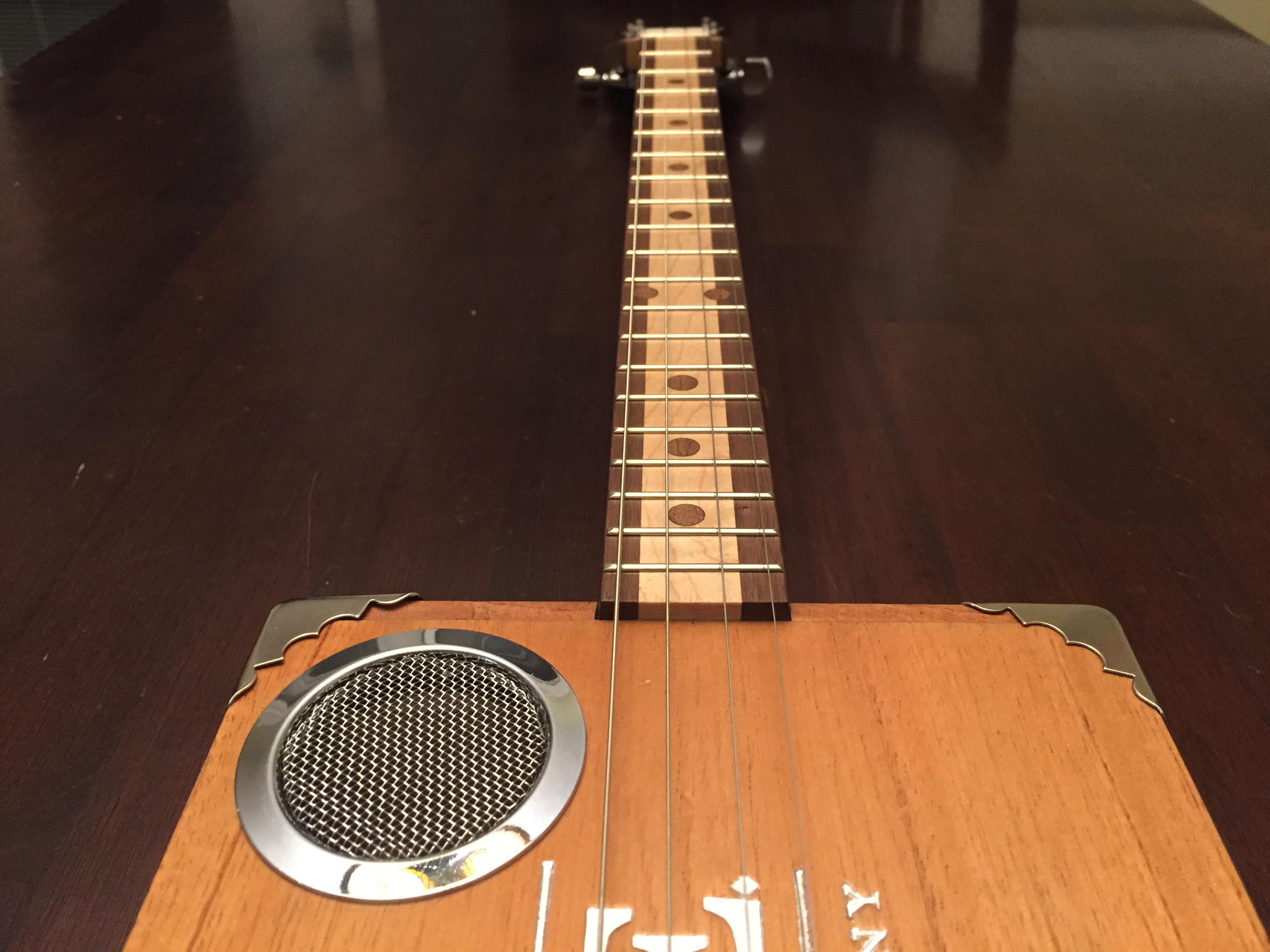 CLE Cigar Box Guitar Build - Fretboard detail