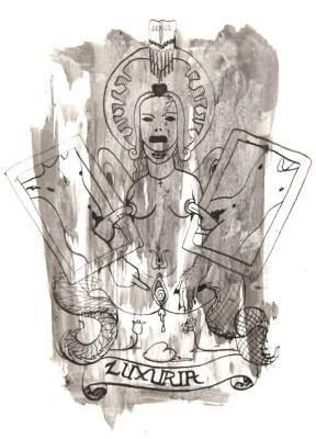 Michal Kucerka: SDS ( Luxuria ), black ink on paper, 2015