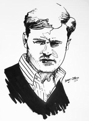 Michal Korman: Self-portrait, ink on paper 80x67 cm, 2012 Paris