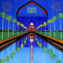 Michal Korman: The Mughal Garden, oil on canvas, 97x130cm, Paris 2016