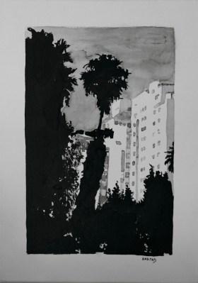 Michal Korman: Tel avivian palm tree, ink on canvas, Paris 2010 Michal Korman: Tel avivian palm tree, ink on canvas, Paris 2010