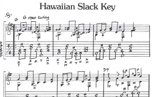 Extraits tablature Hawaiian Slack Key