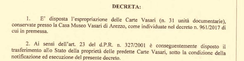 Esproprio dell'Archivio Vasari