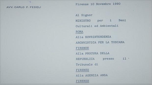 1990 – Denuncia per Documenti acquistati da Archivio di Stato