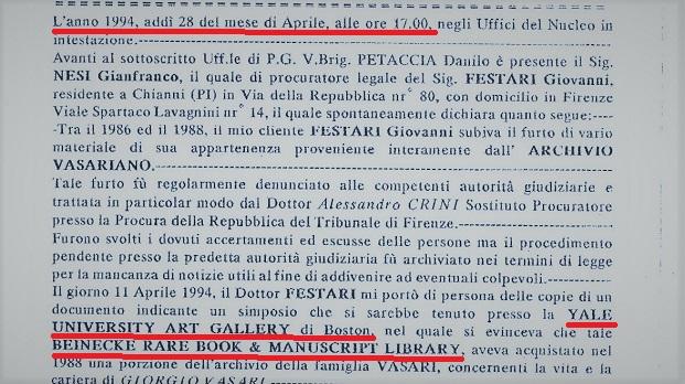 1994 – Le Denunce di Giovanni Festari contro la Yale University