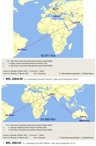 Comparativo de voos