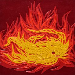 Flammes -Micro-collages 12 x 12cm - 100€