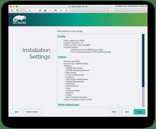 summary of installation 1