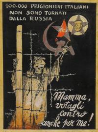Manifesto di Guareschi che ricorda i soldati italiani mandati in Russia