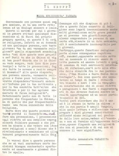"""l'articolo di Maria Annunziata Marazzita così come compariva sulla prima copertina del giornale """"Il Gruppo"""""""