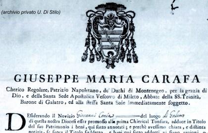"""Documento relativo alla """"prima chierical tonsura"""" di Conia"""