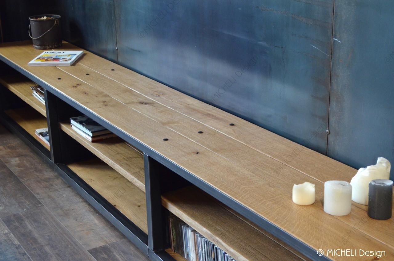 grand meuble tv bas de style industriel