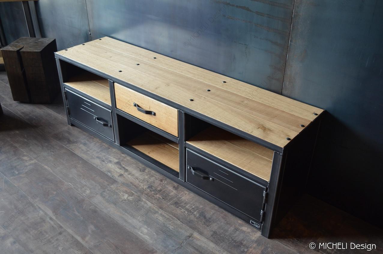 meuble tv industriel 1 tiroir 2 portes