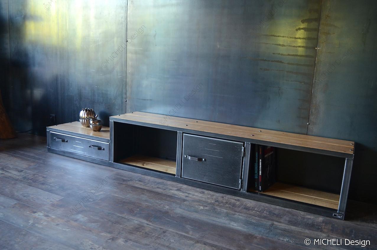 meuble tv original en bois et metal sur