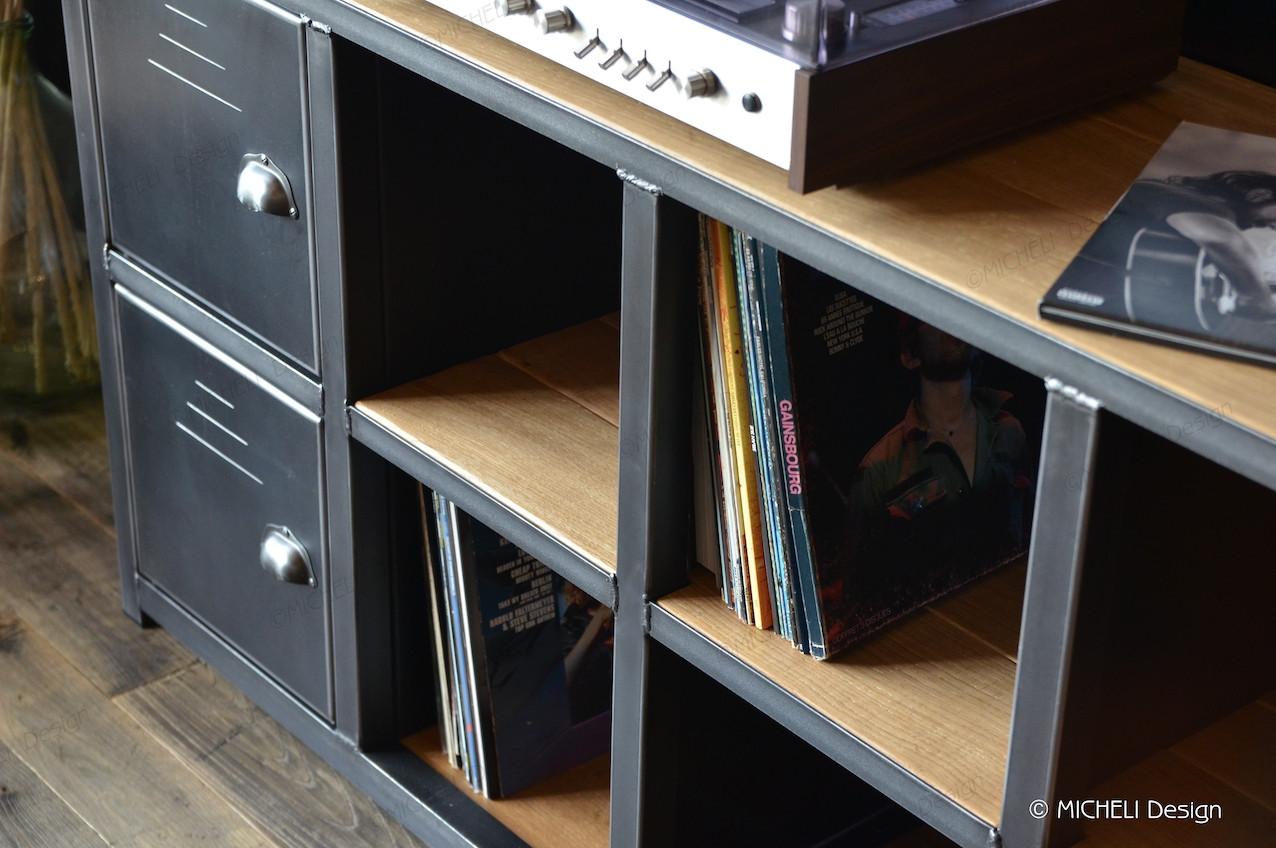 meuble range vinyle industriel