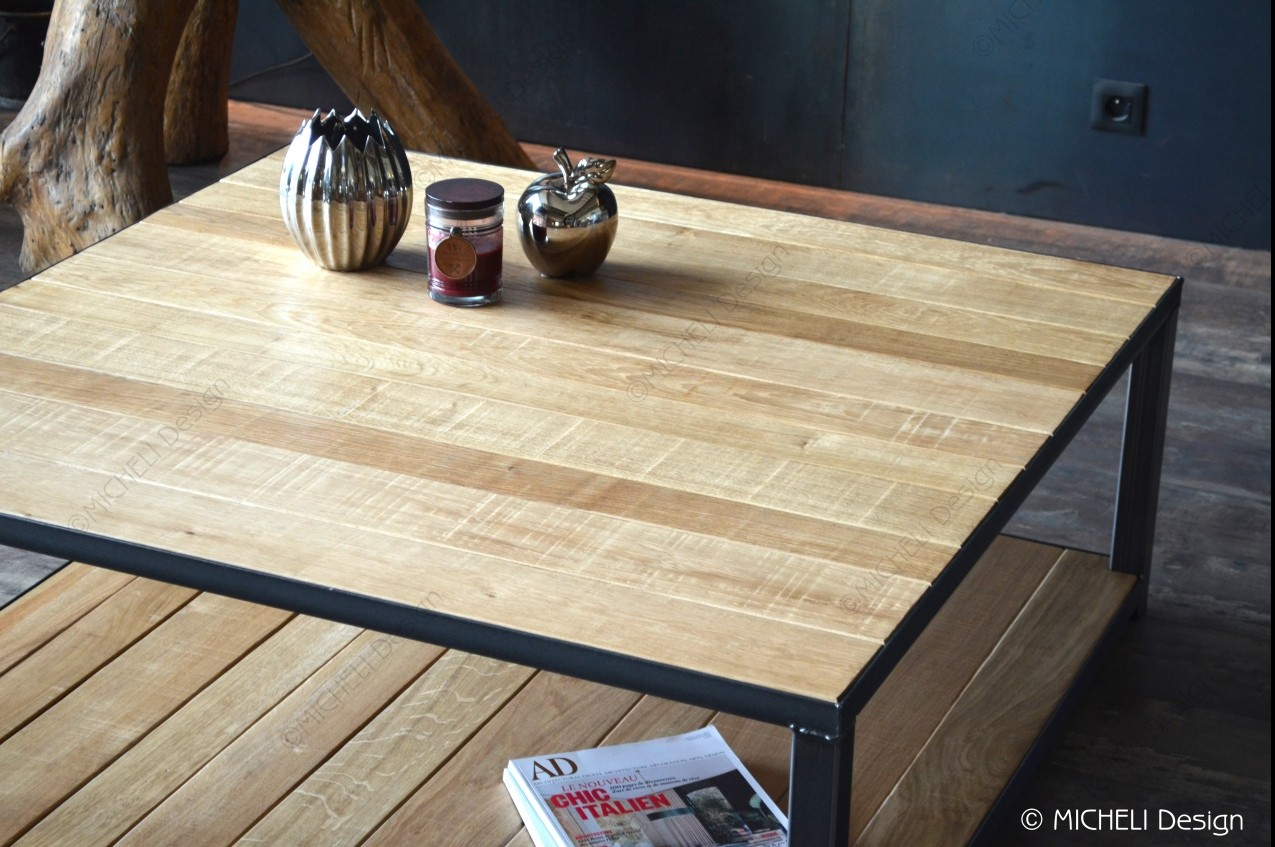Table Basse Carree De Style Industriel 2 Plateaux Bois 110 X 110 Hygie