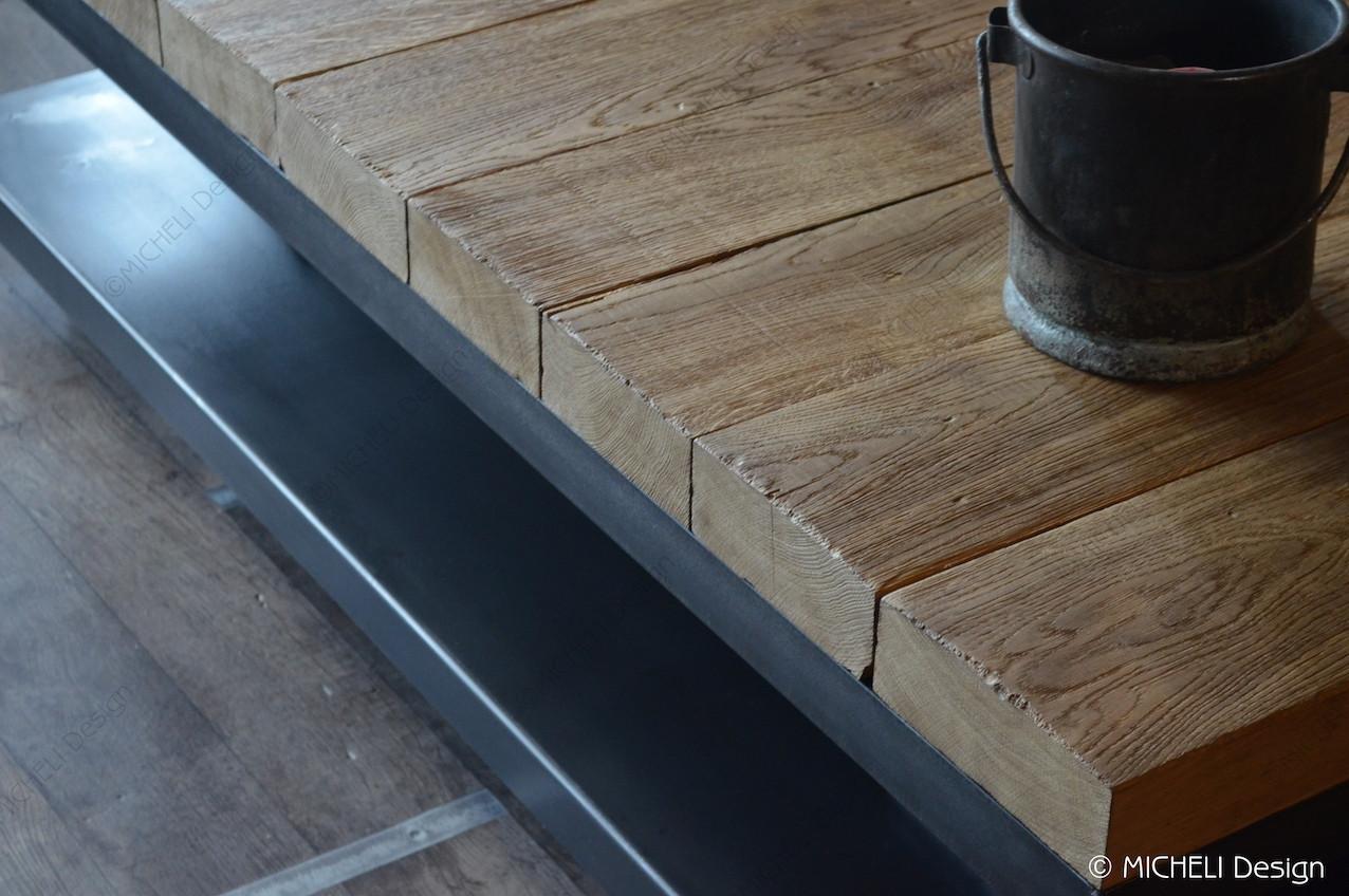 table basse en poutre de chene massif
