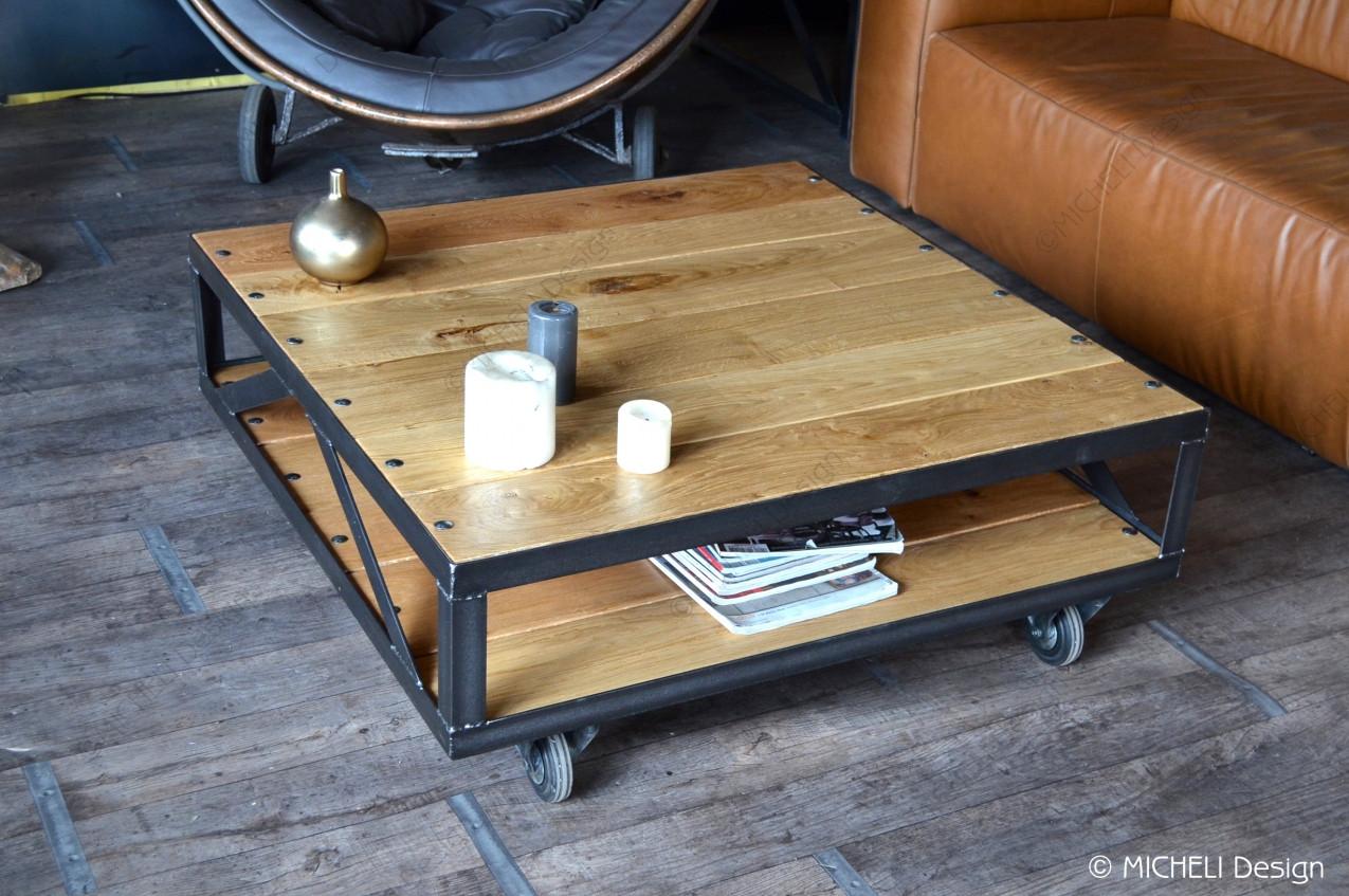 table basse industrielle a roulettes