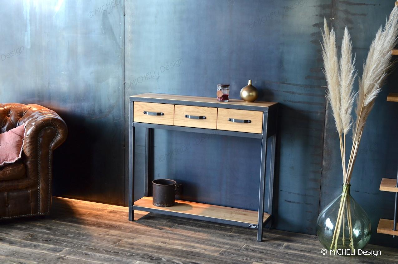 console 3 tiroirs en bois clair et
