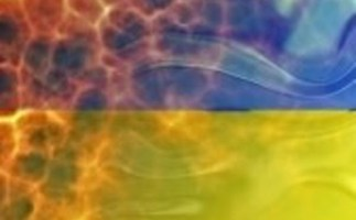 Burning Ukrainian Flag