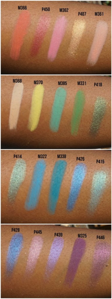 bright rainbow colored eyeshadow swatched on brown skin