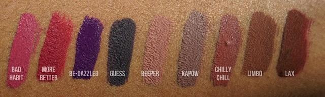 Liquid Lipsticks swatched on brown skin