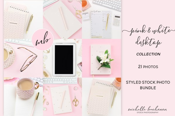 Pink & White Desktop Bundle Styled Stock Photography