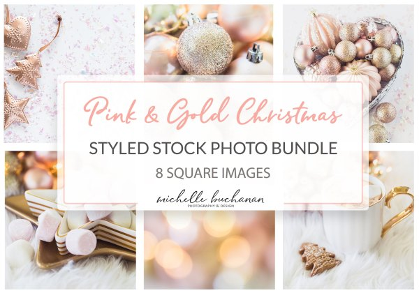 Pink and gold christmas stock photo bundle