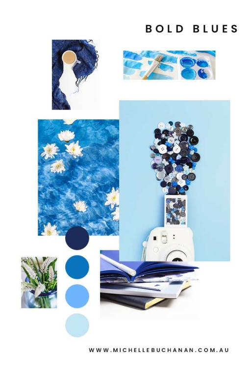 Bold Blues, Mood Board Monday. A collection of photos in varying shades of blue.