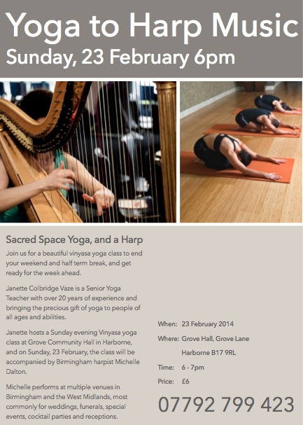 Harp music for vinyasa flow yoga class in Harborne, Birmingham (West Midlands)