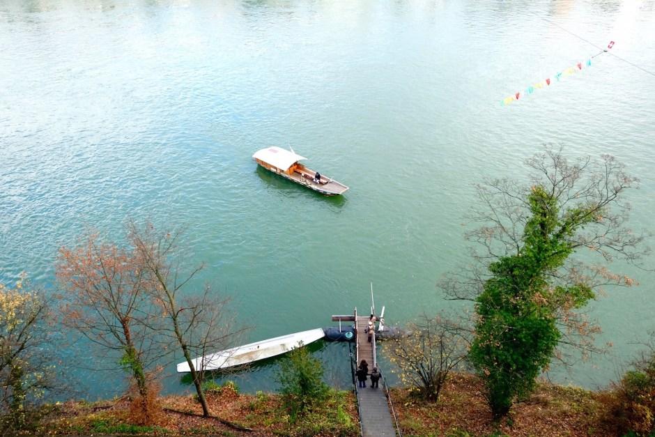 Boat crossing the Rhine river in Basel