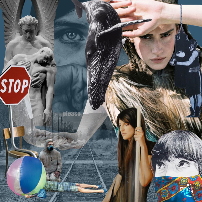 """Digital Collage by Michelle Grayum titled """"Stop, Please"""""""