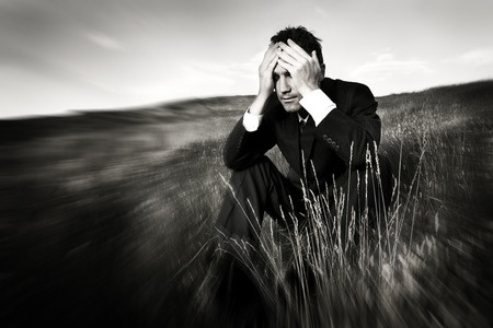 46312281 - lonely businessman depressed about life stress concept