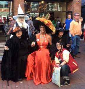 """The divine Ms. Gigi Gill, the Duchess of Salem, with some """"witchy"""" compatriots, and me (zombified), Essex Street, Salem, MA, October 2015"""