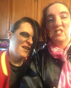 """Me and Suzanne, """"zombified"""" for Zombiewalk 2015 in Salem, MA"""