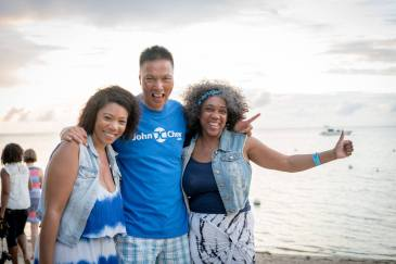 John Chow with mother and daughter on Robinson Crusoe Island Fiji.