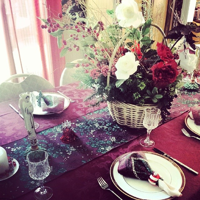 The table is set for Christmas Day dinner #christmas #holiday #food #decoration #celebration