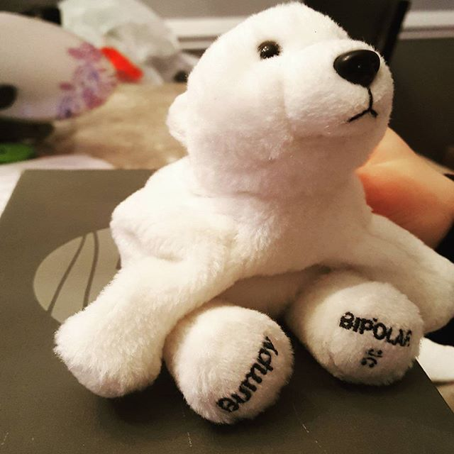 It's Bumpy, the Bipolar Polar Bear.  Likes make Bumpy feel better. #lithium #polarbear #stuffedanimal